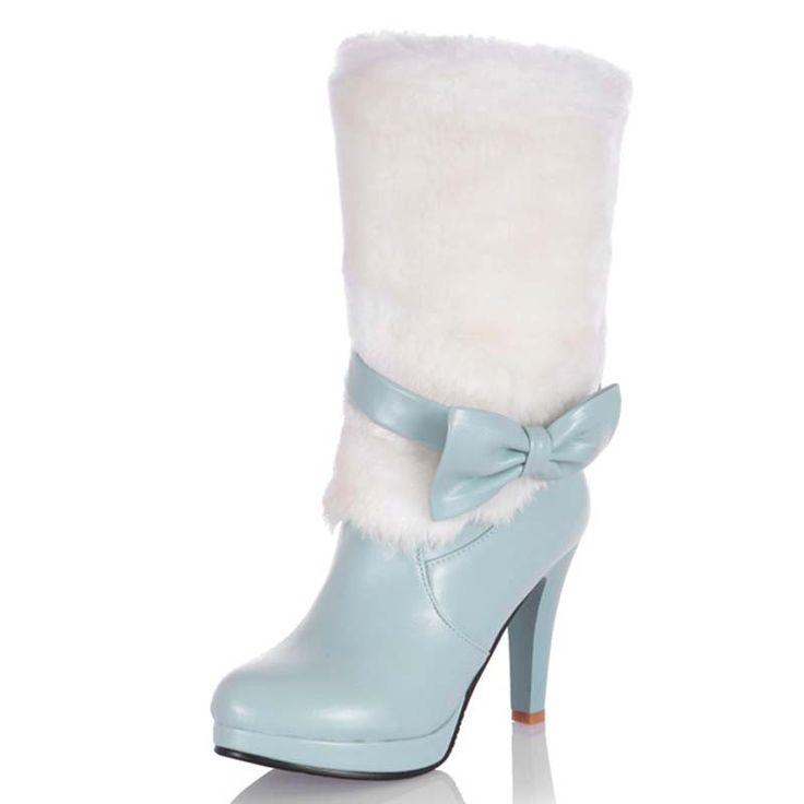 Купить товарБольшой размер расширенный пу мягкая кожа средний икры мода круглый боути туфли на высоких каблуках сапоги для женщин 3 color новые ботинки женщин в категории  на AliExpress.  ENMAYER New Fashion Women Warm Snow Boots Winter Women Riding Boots Female High Heels Thick Heel Women Boots Lace-Up Hi