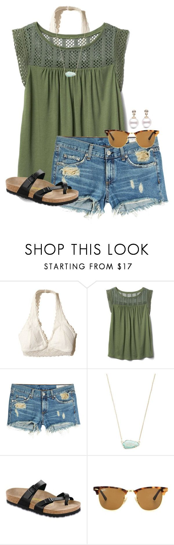 """""""Finals next week"""" by auburnlady ❤ liked on Polyvore featuring Hollister Co., Gap, rag & bone, Kendra Scott, Birkenstock and Ray-Ban"""