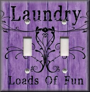 purple switchplates | Light-Switch-Plate-Cover-Laundry-Loads-Of-Fun-Purple-Home-Decor-Room