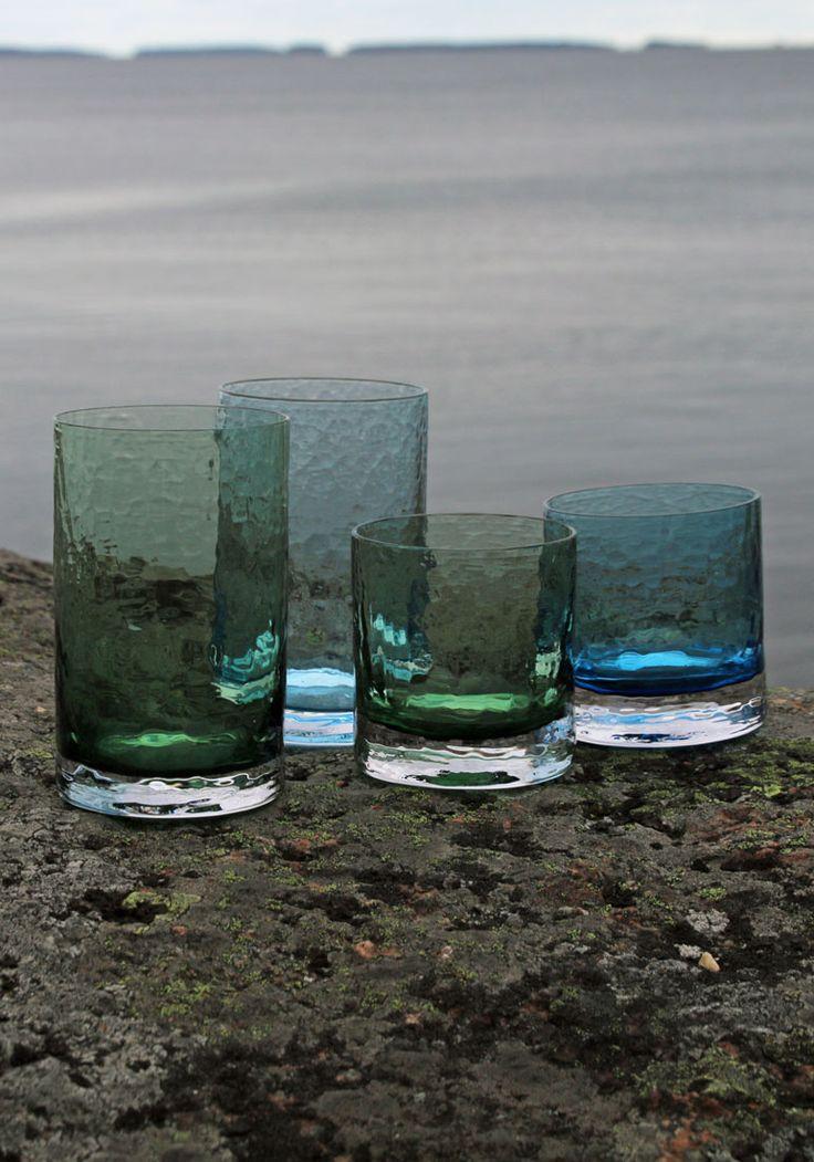"Drinking glass ""Winterglasses"". Blown by glassblower Marja Hepo-aho. Made in Finland, EU #drinkingglass #styleworkfinland"