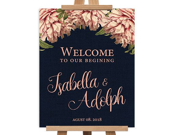 Printable Large Wedding Welcome Sign - Personalized Wedding Reception Entrance Sign - Botanical rustic kraft navy - 8x10, 16x20   Pink peony by NicyaPrintables on Etsy