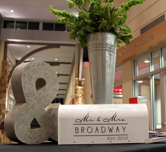 A giant '&' that is a guest book!  Wedding Mailbox Decal  Card Box  Gift Table by back40life on Etsy, $20.00