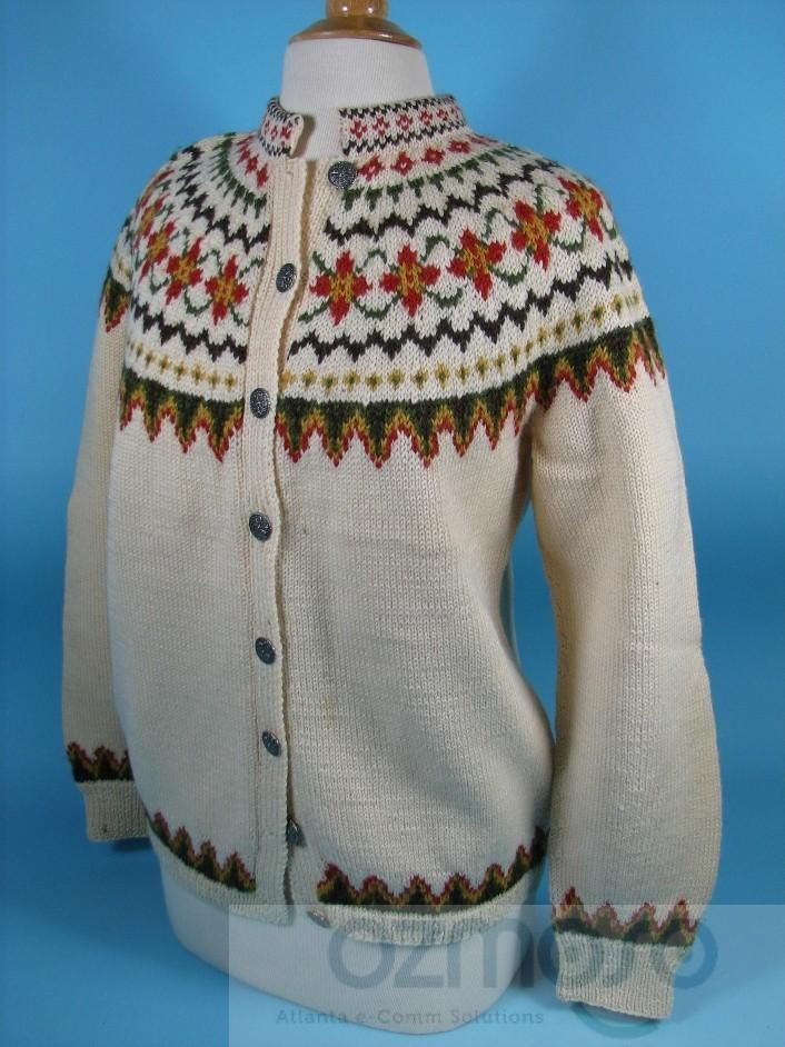 Handmade from Norway SUNDT BERGEN Ladies Cardigan Sweater Silver Button Front M