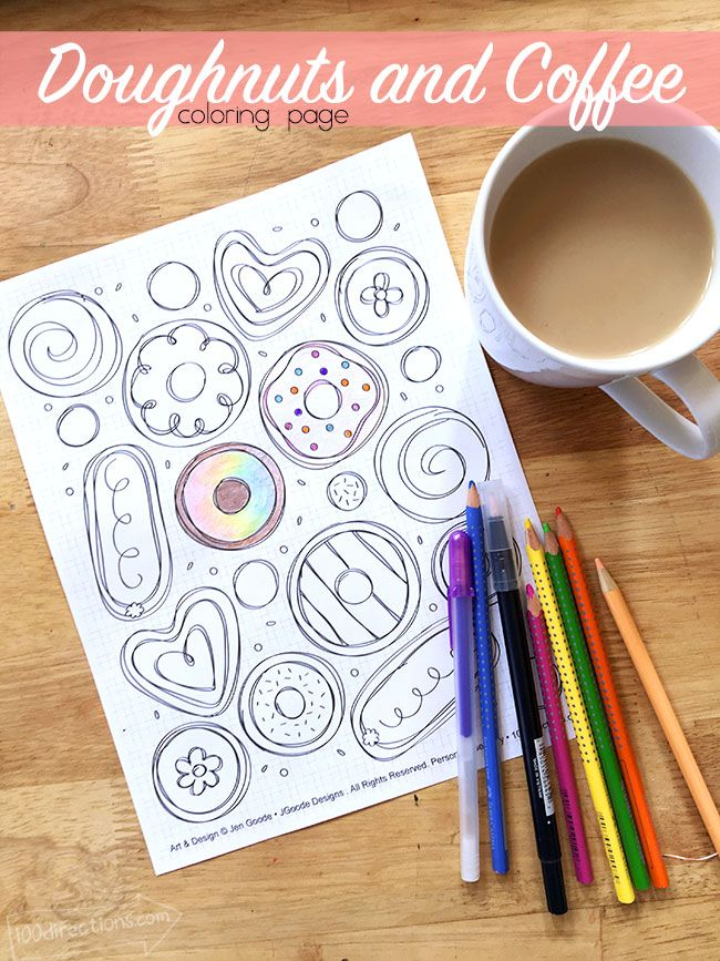 Doughnuts and coffee Coloring Page designed by Jen Goode Need to print these off for our darling grand Kiddos to color while having donuts with us.