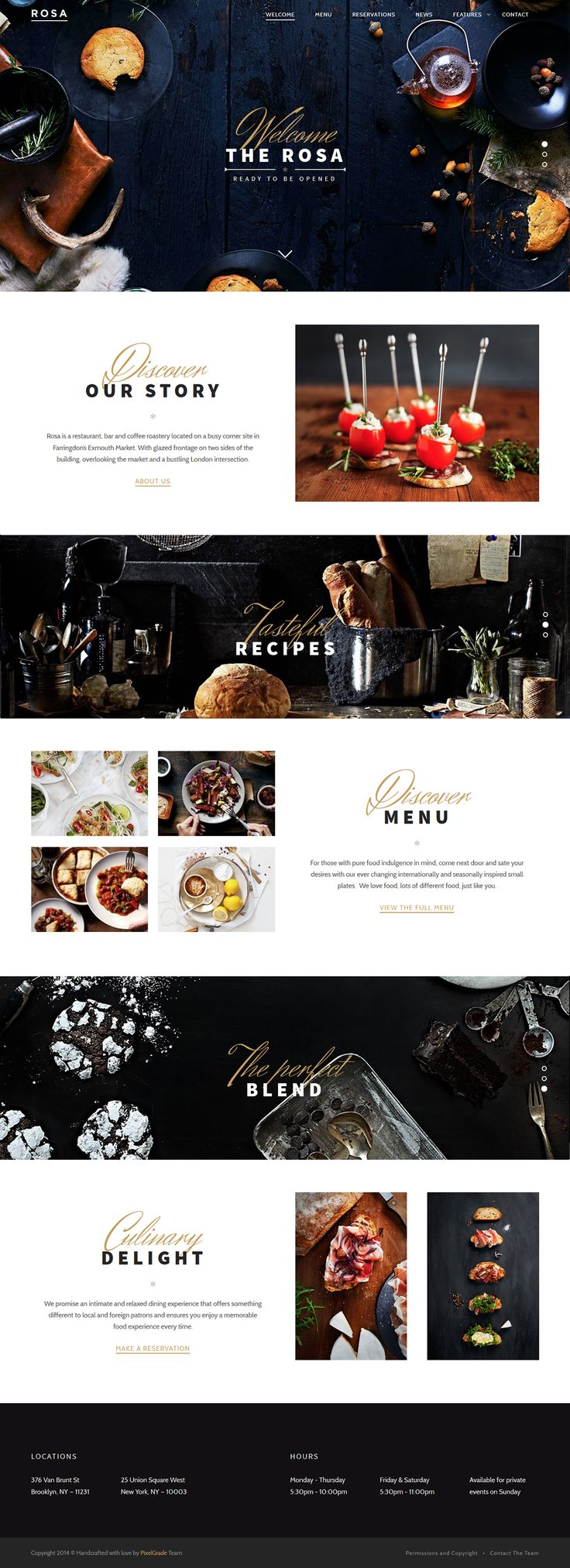 ROSA is an enchanting and easy-to-use parallax Restaurant WordPress theme that allows you to tell your story in a dynamic, narrative and enjoyable way, making it perfect for restaurants, bakeries, bars or coffee shops.