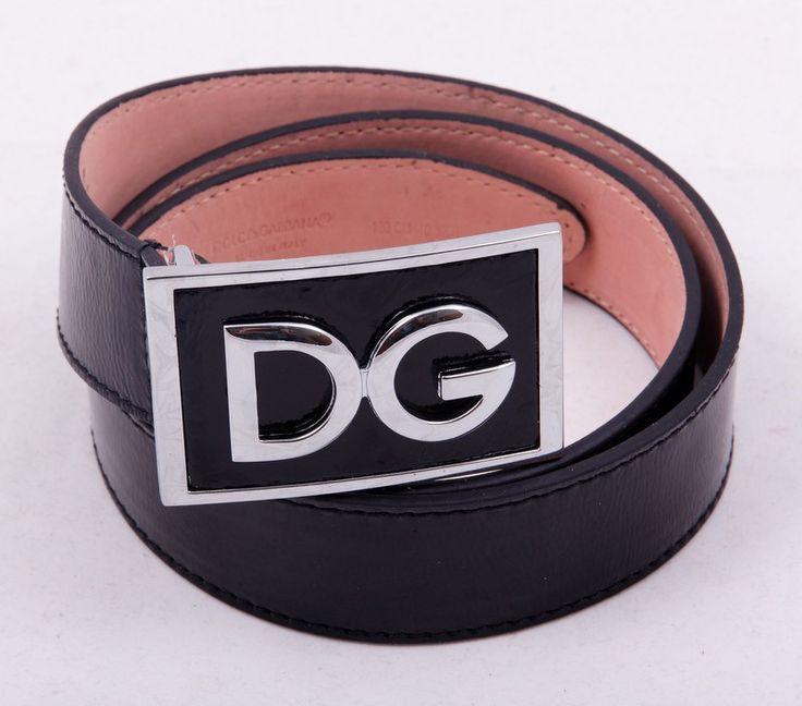Ремень Dolce Gabbana глянцевый черный с пряжкой D G #19440 !! Распродажа модели !! Модель со скидкой !!