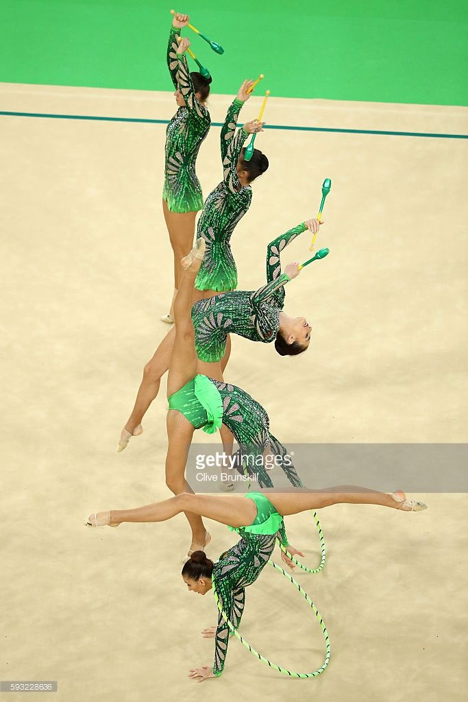Reneta Kamberova, Lyubomira Kazanova, Mihaela Maevska, Tsvetelina Naydenova and Hristiana Todorova of Bulgaria compete during the Group All-Around Final on Day 16 of the Rio 2016 Olympic Games at Rio Olympic Arena on August 21, 2016 in Rio de Janeiro, Brazil.