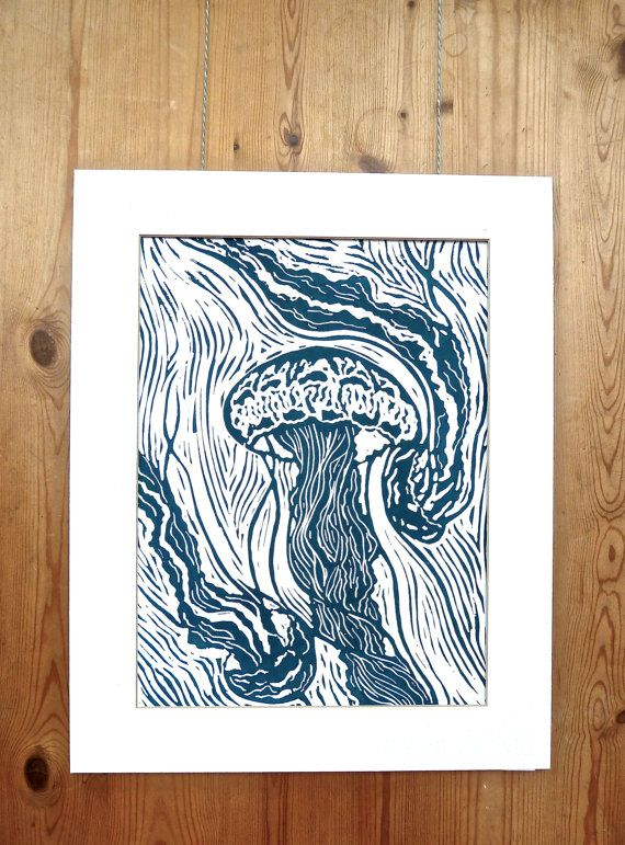 Original Print Trio Of Jellyfish by LauraRosePrintmaker on Etsy