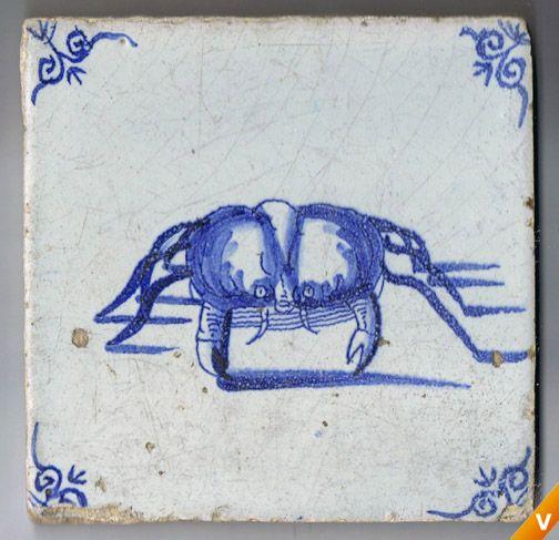 Antieke tegels - Tegel uit Zeeland met krab