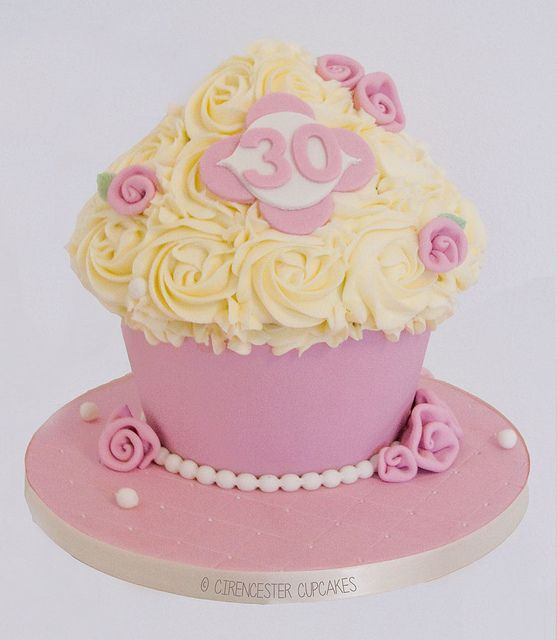 Giant Cupcake - Ribbon Roses & Pearls by Cirencester Cupcakes, via Flickr