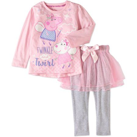 Peppa Pig Toddler Girl Pretty Pixie Long Sleeve Tee and Tulle Skirted Leggings Outfit Set, Pink