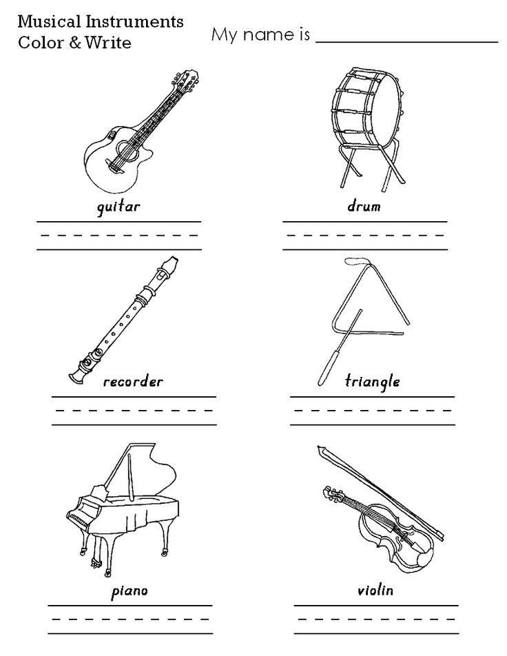Musical Instruments Color Worksheet | Music worksheets ...