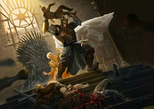"""Fuck the King by Ertaç Altinöz*.  Ser Robert Strong goes berserk while a hysterical Cersei looks on at her precious Tommen. Stabbing, crushing, burning... since the Mad King, never has the order """"Kill them all"""" been so blindly obeyed.  In association with Calvin. M. Green. * FB page: Have A Seat with Ertaç Altınöz."""