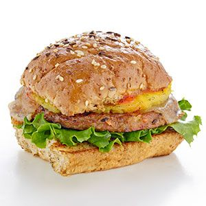 The Hawaiian Burger – made with MorningStar Farms® Garden Veggie Patties™ (which have 110 calories and 10g of protein!)