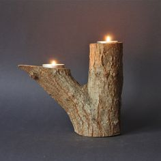 Vintage Tree Branch Natural Wood Double Candle Holder. €19.00, via Etsy. **** I pinned this because it's called a vintage tree branch. Lol****