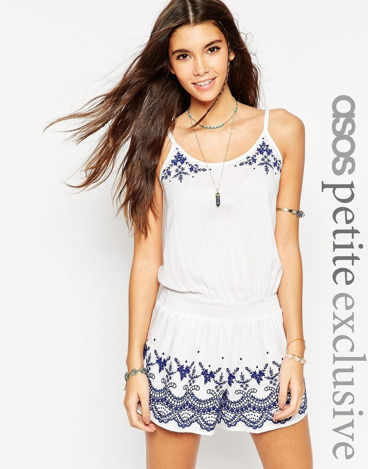 Image 1 ofASOS PETITE Playsuit With Blue Embroidery