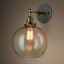 Industrial Retro Glass Shade Ball Wall Lamp Fixture Sconce Light E27/E26 Copper