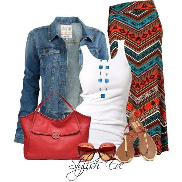 Love the fun of the print on the skirt with the jean jacket.