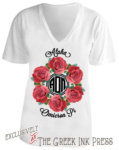 *** Ring Around The Rosies Monogram Custom Sorority T-Shirt Design Exclusively at The Greek Ink Press***    This is a great customizable design