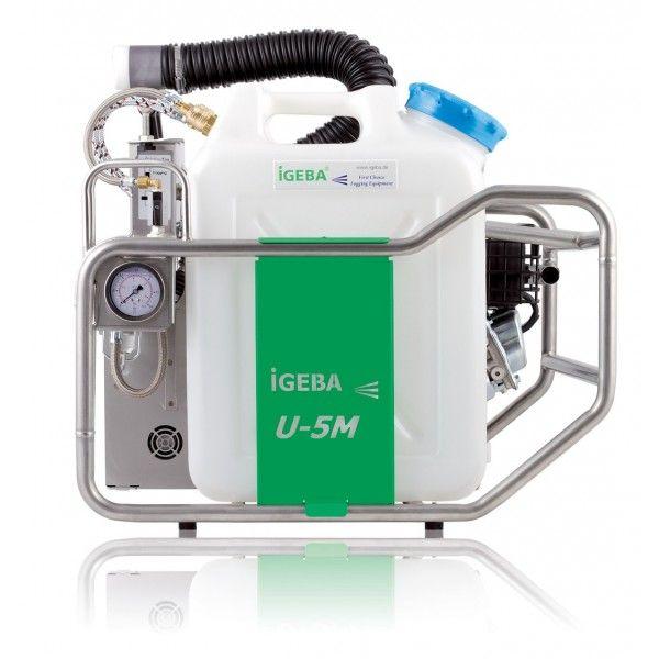 GENERADORES DE AEROSOL U5M - IGEBA Peso: 38 Kg Dimensiones: 60 x 53 x 58 Motor: 4 T Presión: 0,2 bar Capacidad de depósito de combustible: 2 Lts Consumo de gasolina: 0,85 l/h