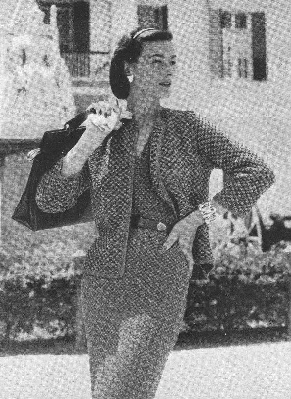 Vintage Vogue Tweed Dress and Jacket Suit Knitting Pattern by authenticirish. Explore more products on http://authenticirish.etsy.com