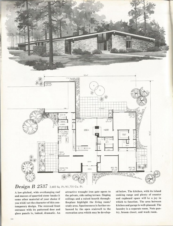 291 best images about mid century modern floor plans on for Mid century floor plans