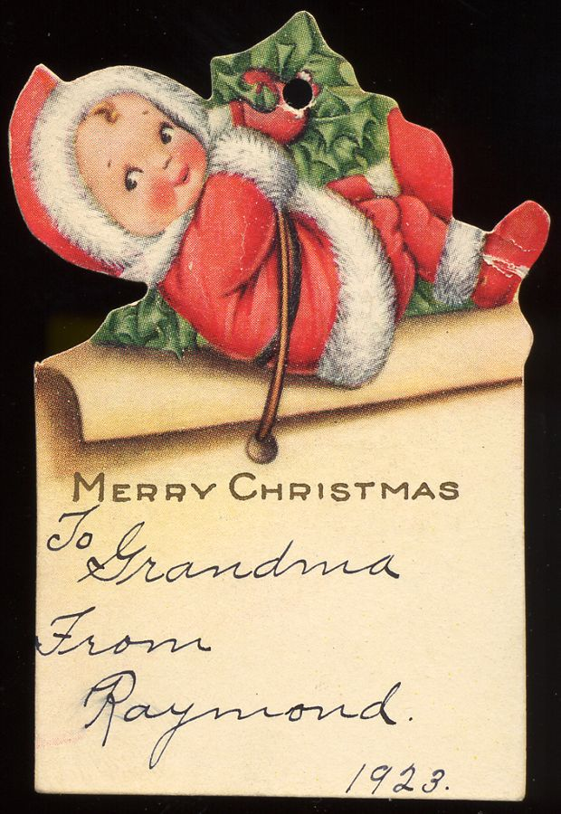 Vintage Christmas Present Tag 1923 / Christmas Card Art - Postcard ...