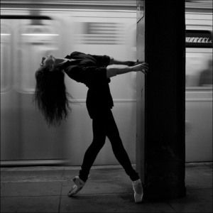 Dancing by the train. Subway dance. Dancers among us.