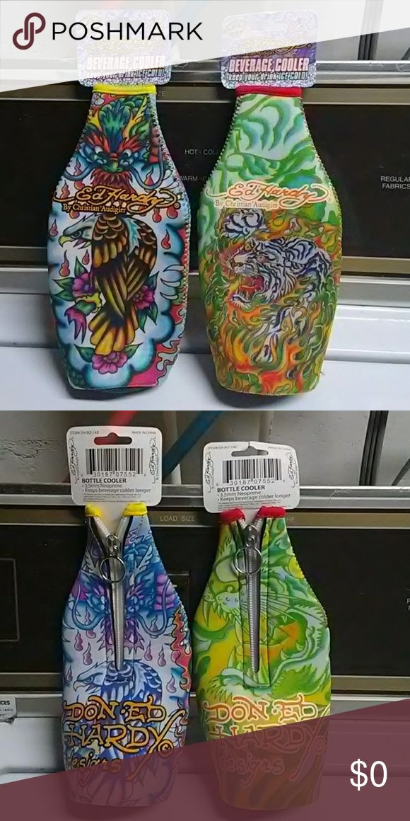 Free with purchase Two Ed Hardy by Christian beverage coolers to keep your drink ice-cold one is brightly colored eagle and the other one is a brightly colored tiger mostly composed of green colors the eagle is mostly composed of blue colors when you turn them around you see a zipper in the back with a zipper pull thats circular and the bottom it says Don Ed Hardy designs in orange colors excellent condition as they are brand new with tags still attached Ed Hardy Other