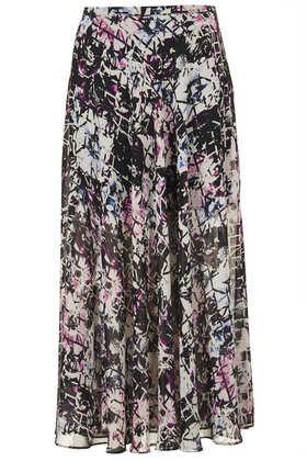 Grid Floral Panel Maxi Skirt - Maxi & Midi Skirts - Maxi & Midi Skirts - Skirts  - Clothing