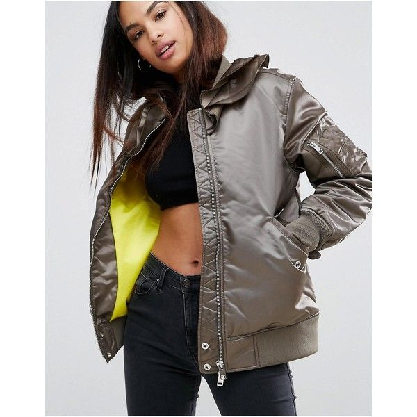 Diesel Ruffle Padded Bomber Jacket (391 CAD) ❤ liked on Polyvore featuring outerwear, jackets, green, green bomber jackets, bomber jacket, zip bomber jacket, nylon bomber jacket and zip jacket