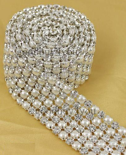 Wholesale Wedding Decorations - Buy P6 1 Yard 6 Rows Diamond A Rhinestone And Pearl Wedding Cake Banding Trim Ribbon Deco, $8.99 | DHgate