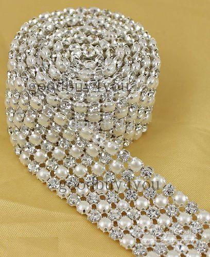 Wholesale Rows Diamond - Buy P6 1 Yard 6 Rows Diamond A Rhinestone And Pearl Wedding Cake Banding Trim Ribbon Deco, $7.46 | DHgate