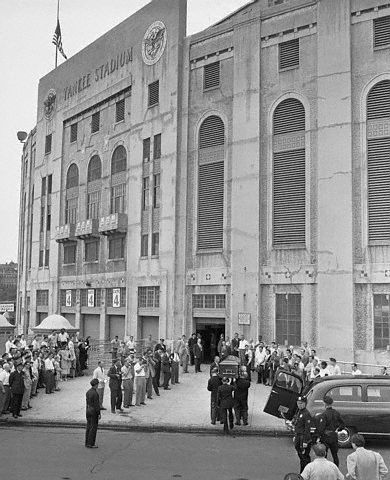 Vintage 1948, Babe Ruth's casket being carried into Yankee Stadium, NYC, www.RevWill.com