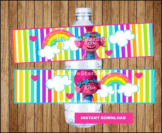 Poppy Trolls Bottle Labels Printable Trolls Water Bottle Trolls Birthday Trolls Birthday Party Birthday Thank You Cards