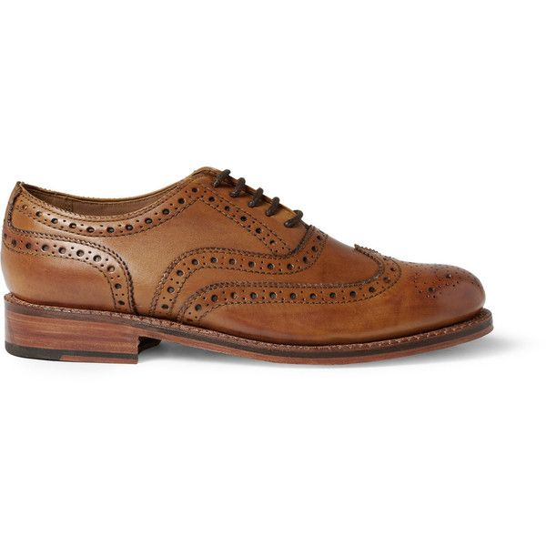 Grenson Stanley Leather Wingtip Brogues (24.870 RUB) via Polyvore featuring men's fashion, men's shoes, men's oxfords, menswear, mens tan brogue shoes, mens tan leather shoes, mens brogue shoes, mens lace up shoes и mens leather lace up shoes