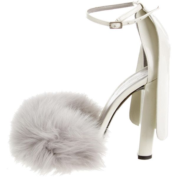 Pre-owned Alexander Wang Simona Fur-Trimmed Sandals ($275) ❤ liked on Polyvore featuring shoes, sandals, heels, grey, real leather shoes, grey heeled shoes, pre owned shoes, heeled sandals and genuine leather shoes