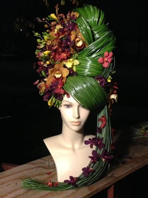 Wonderful Centerpiece - Floral headpiece from Mayesh we sell mannequin heads at www.MannequinMadness.com