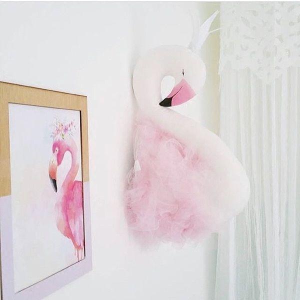 Hoge Kwaliteit Mode Handgemaakte DIY Kids Baby Zwaan Flamingo Knuffels Kamer Decoratie Wanddecoratie Size 52X19 cm