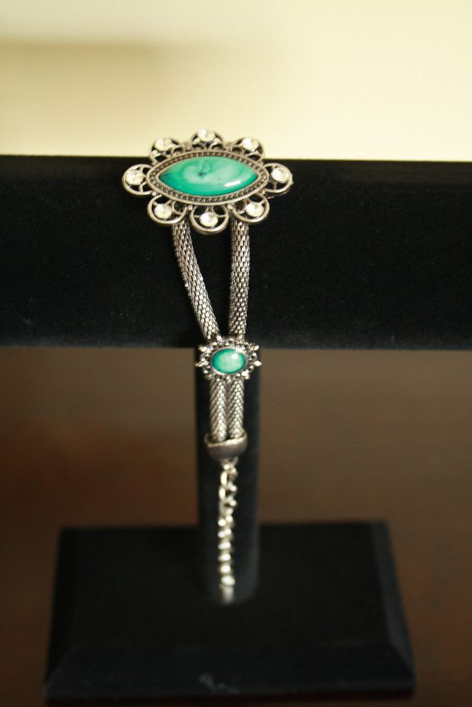Tibetan Silver Bracelet with Aqua Blue Stones -  A wonderfully colored piece..for sure!  At only $10.00  Go to ceesquared.ca  Come for a visit.