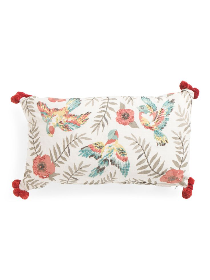 14x24 Embroidered Bird Pillow