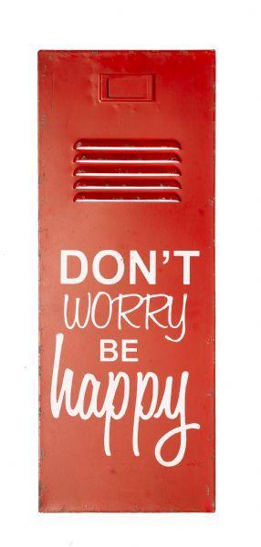 New General Eclectic Locker Door Sign 'Don't Worry, Be Happy'
