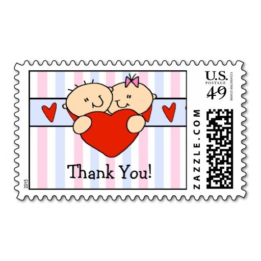 Sweet Twins Thank You Postage Stamp