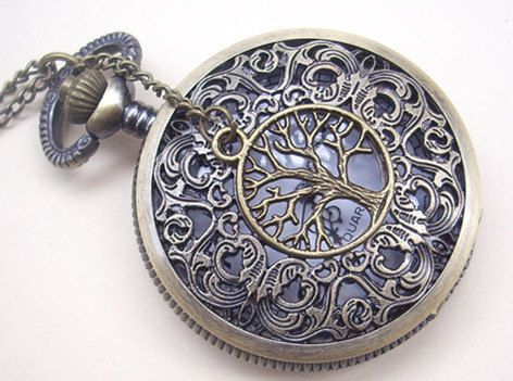 hollow dial Pocket watch(big size) Locket Necklace,with a tree. $6.00, via Etsy.