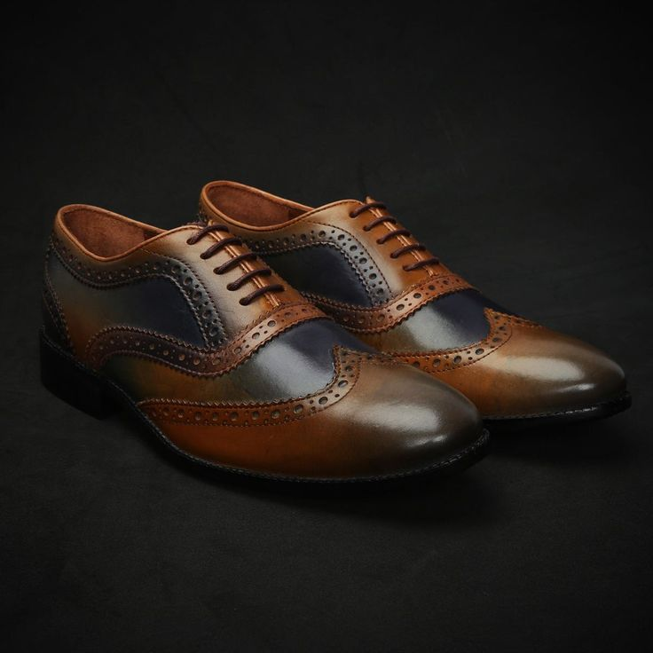 BUY TAN & NAVY BLUE DUAL SHADE HAND PAINTED LEATHER BROGUE SHOE FOR MEN BY BRUNE