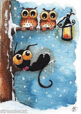 ACEO Original Folk Art Whimsical Illustration Painting Black Cat Bird Owl Tree | eBay