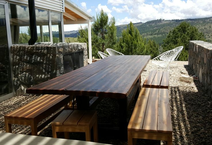 Outdoor spaces #countryside #mountains #cordoba #argentina  #exteriores #furniture #wood #outdoor #landscapes