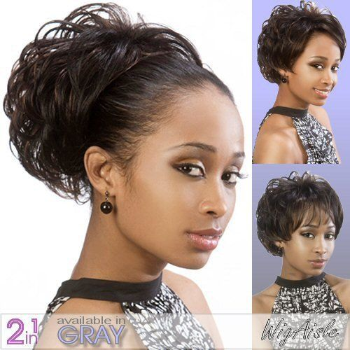 LGB-801 (Motown Tress) - Synthetic Half Wig in OFF BLACK by Motown Tress. $32.38. Half Cap Synthetic Wig. Short length. Straight style. Half Wig and Ponytail. Color 1B is OFF BLACK. The color you receive may vary from the swatch shown due to your monitor and the distribution of the color fibers dictated by the style.. Color shown is 2. Secure fit combs and drawstring.. Color 1B is OFF BLACK (Color shown is 2) - 2 IN 1 BANG SHORT DOWN TAPE CURL. Half wig and ponytail.