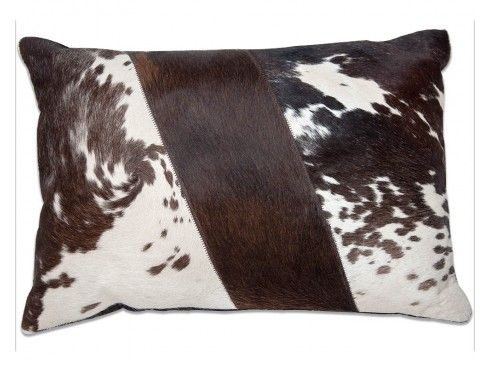 Chocolate Brown and White Ripple Imported Hairon Leather Cushion Cover Buy #leather #cushion #covers online: https://www.maddhome.com/leather-cushions-covers.html