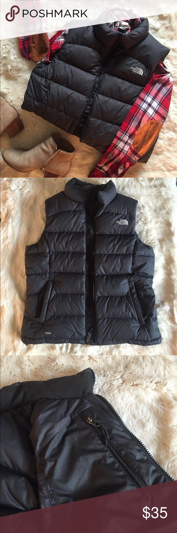 North Face Black Puffer (Goose Down) Vest North Face black puffy vest, perfect for fall and winter. (Size L, fits true to size). The North Face Jackets & Coats Vests